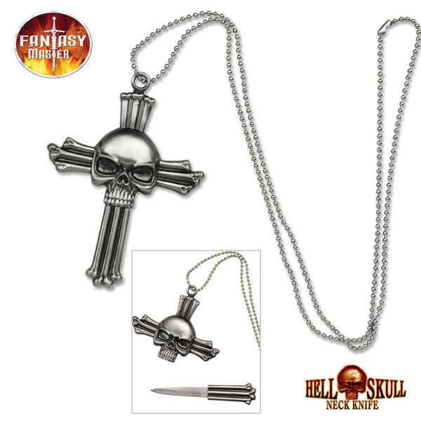 Fantasy Skull Cross Neck Knife Necklace J L Self Defense Products