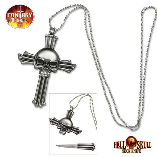 Fantasy Skull Cross Neck Knife Necklace