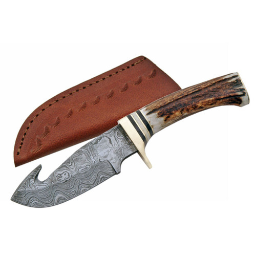 "9"" Damascus Stag Guthook Skinner with sheath"