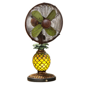 Pinapple Mosaic Glass Light/Fan Combo Table Fan