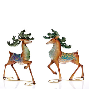 Holiday - Table Décor - Peacock Reindeer Assortment - HOL5159 - MIN ORDER: 2