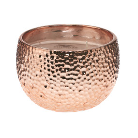 Hammered Metallic Ceramic Candle - Rose Gold 18 oz
