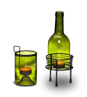 Happy Hour - Wine - Candle Holder -Wine Bottle Tea Light Holder Gift Set  - CHD6456 - MIN ORDER: 3