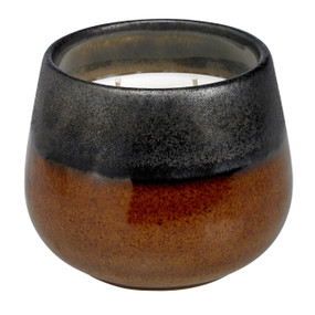 Candle - Stoneware - Black & Tan 3-wick - CDL7429 - MIN ORDER: 2