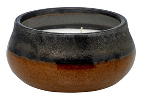 Candle - Stoneware - Black & Tan 4-wick - CDL7430 - MIN ORDER: 1