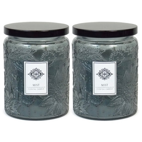 Candle - Embossed Flower Jar 18 oz - Mist 2 Pack - AMZ7120 - MIN ORDER: 6