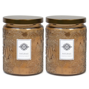 Candle - Embossed Flower Jar 18 oz - Naturale 2 Pack - AMZ7123 - MIN ORDER: 6