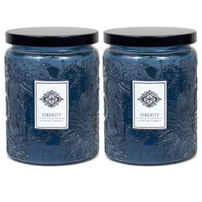 Candle - Embossed Flower Jar 18 oz - Serenity 2 Pack - AMZ7121 - MIN ORDER: 6