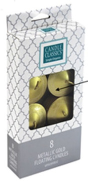 Candle - Basics - Floaters 8 pack - Metallic GOLD - Boxed Set - PTC6254 - MIN ORDER: 6