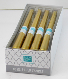 Candle - Basics - Taper - 10in Gold - Individual Selling Units in Shelf Display - PTC5311 - MIN ORDER: 12