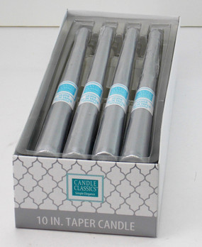 Candle - Basics - Taper - 10in Silver - Individual Selling Units in Shelf Display - PTC5312 - MIN ORDER: 12