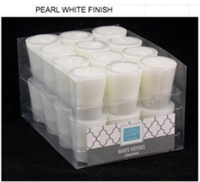 Candle - Basics - Votive - Pearl White  - Individual Selling Units in Shelf Display - PTC6260 - MIN ORDER: 24