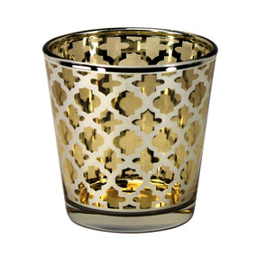Candle Holder - Glass Gold Quatrefoil Large - PTC8612 - MIN ORDER: 6