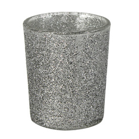 Candle Holder - Glass Micro Glitter SILVER - PTC8606 - MIN ORDER: 6