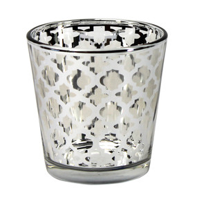 Candle Holder - Glass Silver Quatrefoil Large - PTC8610 - MIN ORDER: 6