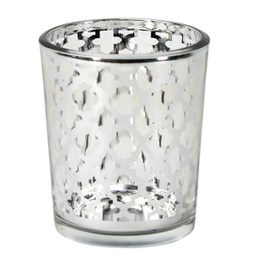 Candle Holder - Glass Silver Quatrefoil Small - PTC8609 - MIN ORDER: 6