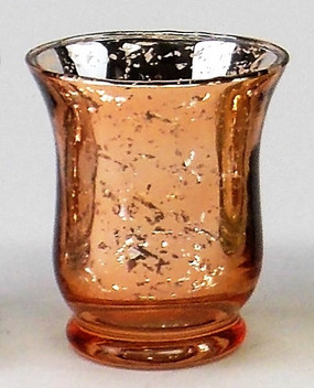 Candle Holder - Mercury Glass Hurricane - Rose Gold - PTC6218 - MIN ORDER: 6