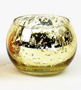Candle Holder - Mercury Glass Round - Gold - PTC6213 - MIN ORDER: 6