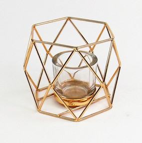 Candle Holder - Tealight - Geo Gold w Glass - PTC6247 - MIN ORDER: 4