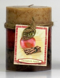 Fall - Candle - 3 Layer Mottled Pillar 3x4 - Cinnamon Apple - DYN3182 - MIN ORDER: 4
