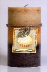 Fall - Candle - 3 Layer Mottled Pillar 3x6 - Butter Cream  - DYN3152 - MIN ORDER: 4