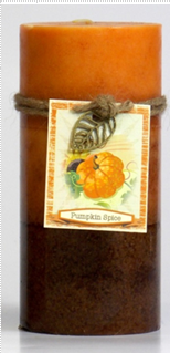 Fall - Candle - 3 Layer Mottled Pillar 3x6 - Pumpkin Spice - DYN3184 - MIN ORDER: 4