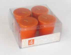 Fall - Candle - Votive - 4pk Tapered - Pumpkin Spice - HAR3125 - MIN ORDER: 8