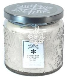 Holiday - Candle - Embossed Snowflake Jar  13 oz - Peppermint Candy - HOL6277-MJ - MIN ORDER: 4