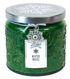 Holiday - Candle - Embossed Snowflake Jar  13 oz - Wintter Woods - HOL6273-MJ - MIN ORDER: 4