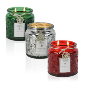 Holiday - Candle - Embossed Snowflake Jar 13 oz - 3 Pack Traditional - AMZ5710 - MIN ORDER: 2