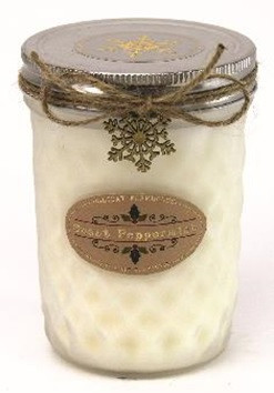 Holiday - Candle - Quilted Jelly Jar 11.5 oz - Sweet Peppermint - HOL8624-MJ - MIN ORDER: 4