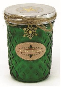 Holiday - Candle - Quilted Jelly Jar 11.5 oz - Winter Spruce - HOL8618-MJ - MIN ORDER: 4