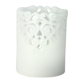 LED - Pillar - White Lace 3X4 5hr timer - PTC8558 - MIN ORDER: 4