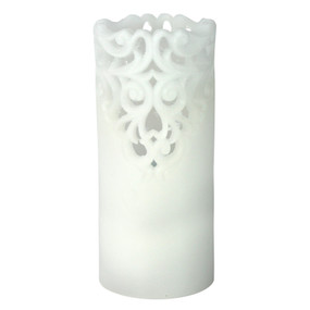 LED - Pillar - White Lace 3X8 5hr timer - PTC8564 - MIN ORDER: 4