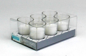 Candle - Basics - Party Lights Glass 6 pack - PTC5280 - MIN ORDER: 12
