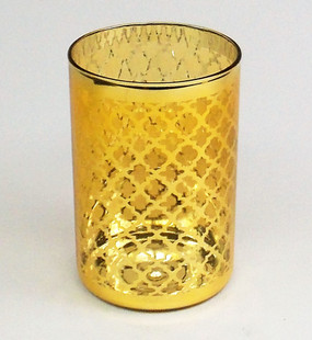 Candle Holder - Candle Lantern Gold glass - 4x6 - PTC6234 - MIN ORDER: 4