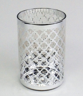 Candle Holder - Candle Lantern Silver glass - 4x6 - PTC6235 - MIN ORDER: 4