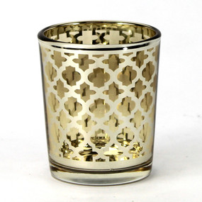 Candle Holder - Glass Gold Quatrefoil Small - PTC8611 - MIN ORDER: 6