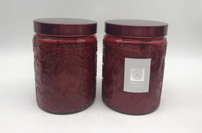 Candle - Embossed Flower Jar 18 oz - Crimson Currant 2 Pack - AMZ7126 - MIN ORDER: 6