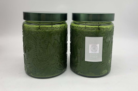 Candle - Embossed Flower Jar 18 oz - Citrus and Sage 2 Pack - AMZ7125 - MIN ORDER: 6