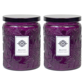 Candle - Embossed Flower Jar 18 oz - Island Orchid 2 Pack - AMZ7124 - MIN ORDER: 6