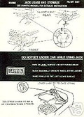 1975 DART/VALIANT JACK INSTRUCTION DECAL