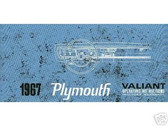 1967 67 PLYMOUTH VALIANT OWNER'S MANUAL