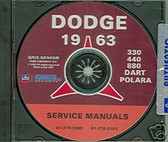 1963 DODGE DART/880/POLARA SHOP/BODY MANUAL ON CD