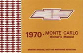 1970 CHEVROLET MONTE CARLO/SS OWNER'S MANUAL