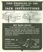 1953 CADILLAC JACK INSTRUCTION NOTICE