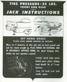 1958 CADILLAC JACK INSTRUCTION NOTICE