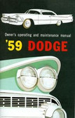 1959 DODGE PASSENGER CAR OWNER'S MANUAL