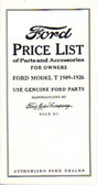 1909 19 20 21 22 23 25 26 FORD MODEL T PRICE LIST-PARTS