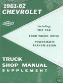 1961 1962 CHEVROLET TRUCK SHOP MANUAL SUPPLEMENT